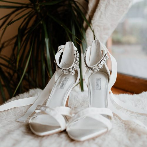 image of the bride's shoes from dune, mount Juliet wedding