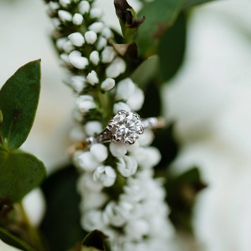 image of the bride's engagement ring using a macro lens